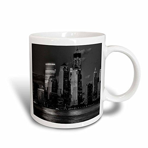 3dRose Skyline, Hudson River und NYC Night-Magic, Kaffeebecher, Keramik, Schwarz/Weiß, 10.16 cm x 7,62 x-Uhr (Nyc Kaffeebecher)