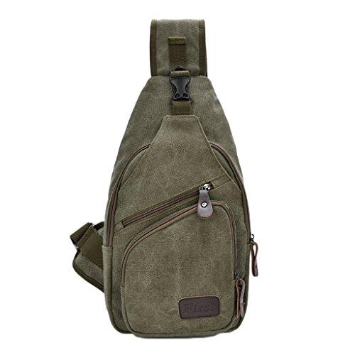ENKNIGHT petto Sport-Borsa da escursionismo, a tracolla in tela, borsa da viaggio (Verde militare)