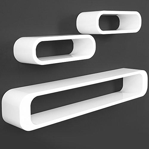 3er Set Wandregal im Retro Stil weiß - Cube Regal Bücherregal Hängeregal