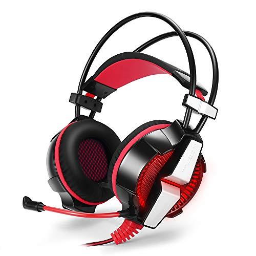 Hengta Kopfhörer Abgesetzter Metallkopfstrahl Spielkopfhörer Kopfhörer mit LED-Leuchte