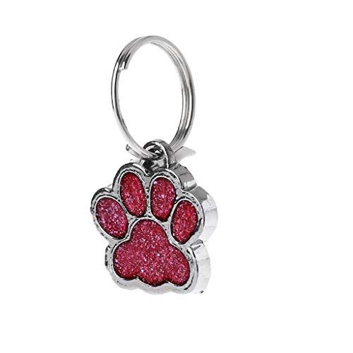 Cadania Haustier-Kragen-Umbau-glänzender Glitter-Tatzen-Form-Haustier-Hundekatzen-Identifikationstag-Keychain mit Ring - Rot