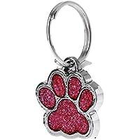 Koehope - Collar para Mascota, con Purpurina Brillante, diseño de Huella de Perro, Gato o identificación con Llavero con Anillo