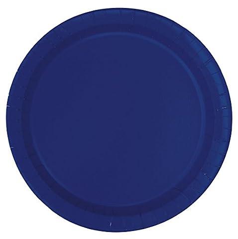 Unique Party - 30948 - Paquet de 20 Assiettes en Carton - 18 cm - Bleu Marine