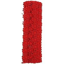 P Prettyia 15 Yards Cinta de Encaje Floral Borde Bordado de Ajuste Accesorios para Hacer Proyectos de Arte y Manualidades DIY - Rojo