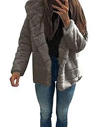 FNKDOR Manteaux en Fausse Fourrure pour Femmes d hiver Chaud Épais Veste à  Capuche Cardigan 95db93428d6