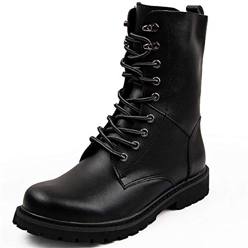 Herrenschuhe, Fashion-Leder Martin Boots Men Boots High-Top-Schuhe Plus Velvet Warm Fip Boots Lace-Up Spezialkräfte Kampf Boots,Black,41