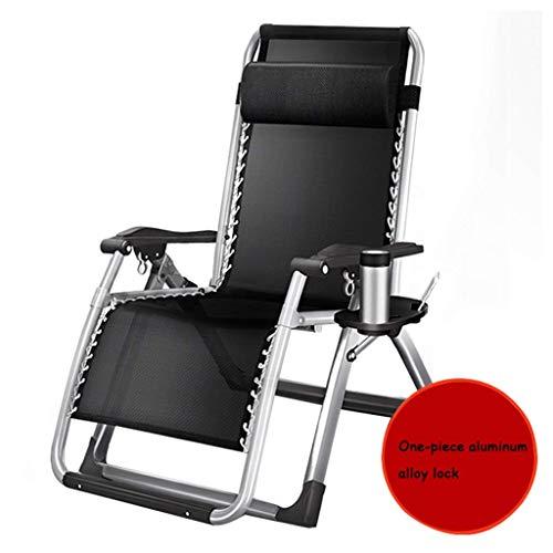 WJJJ Patio Stuhl Schwerelosigkeit Outdoor Stuhl Einstellbare Klappverriegelung Lounge Stühle Single Camp Bett Büro Siesta Bett Deck Deck (Farbe: Schwarz1, Größe: 52 cm) -