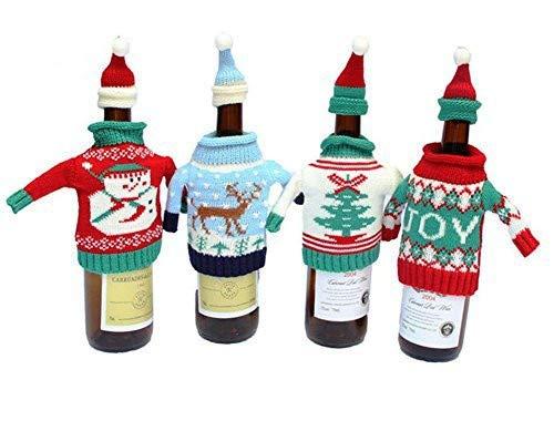 Weihnachten Flasche, glodenbridge Ugly Weihnachten Pullover Wein Flasche, Weihnachten Dekoration und Geschenk Flasche Tasche Strick. (4 Stück) -