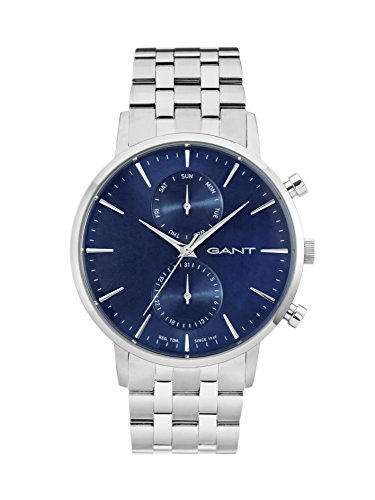 Gant Park Hill Day-Date Men's Quartz Watch with Blue Dial Analogue Display and Silver Stainless Steel Bracelet W11206