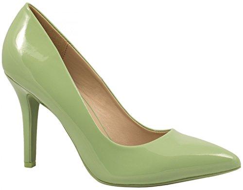 Elara Spitze Damen Pumps | Bequeme Lack Stilettos | Elegante High Heels Grün