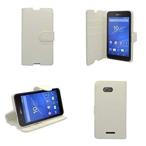 Preisvergleich Produktbild Kompatibel mit Sony Xperia E4 Weiß Einfarbig Handy Hülle und Gratis Gadget Boxx Displayschutz