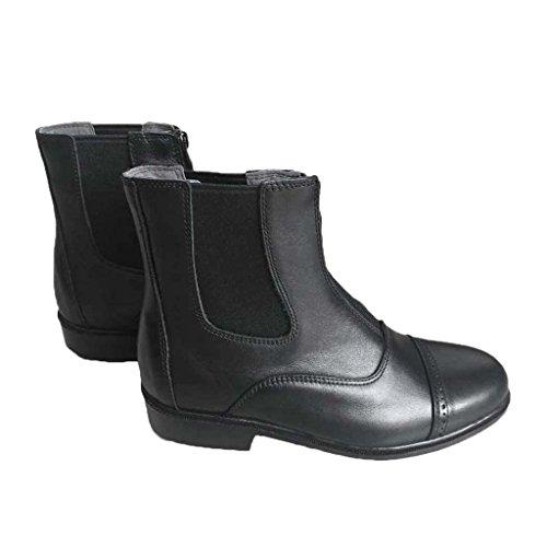 MagiDeal Paio di Stivali Equitazione Paddock Jodhpur Short Boot Cuoio Artificiale con Cerniera Frontale Nero