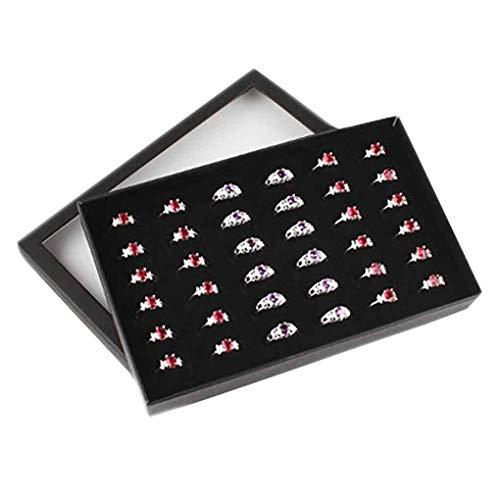 Providethebest Transparente Fenster PVC 36 Slots Ring Box Tray Aufbewahrungs Show Case-Ohrringe Schmuck-Anzeigen-Halter-Organisator