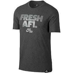 Nike Herren M NSW Af1 2 Kurzarm Laufshirt, Kohle-Heidekraut Grau/Dunkler Stuck, M