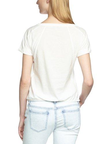 Mavi Damen T-Shirt Woven Detailed Top ; 163182-13878, Rundhals Weiß (13878; WOVEN DETAILED S/S TOP; oatmeal)