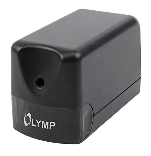 Olympia AS 100 Elektrischer Anspitzer (mit Behälter, Für Bleistifte, Buntstifte, Kohlestifte, Spitzer mit Dose aus Kunststoff, Spitzmaschine bis 8 mm Durchmesser)