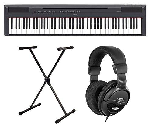 Yamaha P-115B Stage Piano SET inkl. X-Ständer und Kopfhörer (88 gewichtete Tasten, Begleitstyles, Rhytm-Funktion, 192-stimmige Polyphonie, inkl. Notenhalter, Pedal, Netzadapter, Stativ) schwarz