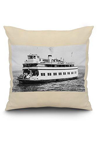 Astoria, Oregon View of Ferry Astoria Photograph (20x20 Spun Polyester Pillow Case, White Border)