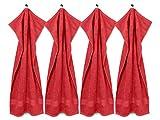 Packs zum Sparpreis - solide Frottiertücher - erhältlich in 18 modernen Farben und 8 verschiedenen Größen, 4er Pack Handtücher (50 x 100 cm), rot