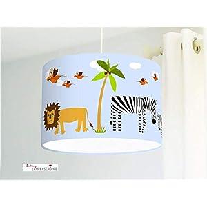 Lampe Kinderzimmer mit Safari Tieren Löwen Giraffen Zebras in Hellblau für Babys