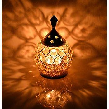 Collectible India Akhand Diya Decorative Brass Crystal Oil Lamp Tea Light Holder Lantern Oval Shape | Diya for Puja and Festival Decoration