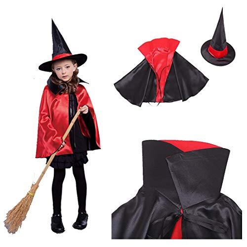 FLYA Halloween Death Cape Umhang Adult Velvet Hooded Cloak Vampire Masquerade Mit Kapuze Robe,Red black-80cm