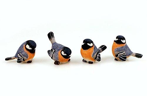 4x Deko Figur Vogel Vögelchen Kleiber zum Stellen im Set, 6,5 x 5 cm aus Polystein blau orange weiß, Dekofigur Vögel Dekovögel