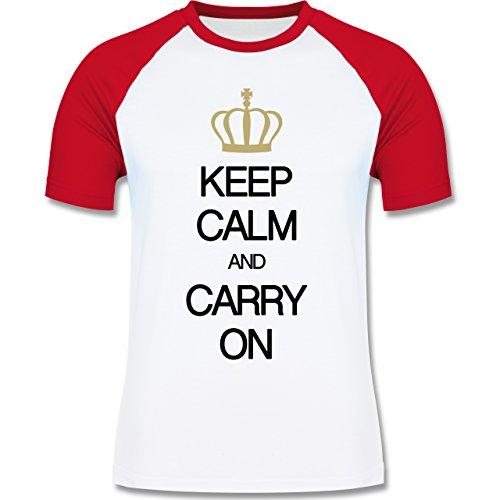 Shirtracer Keep Calm - Keep Calm and Carry On - Herren Baseball Shirt  Weiß/Rot