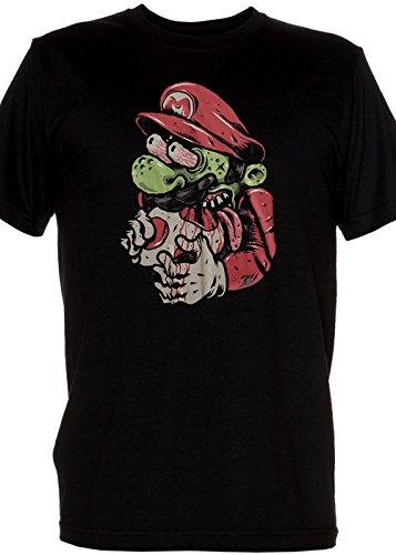 Original Retro Mens black Shirt - Our Super Hero Mario is a Zombie! Mens Large