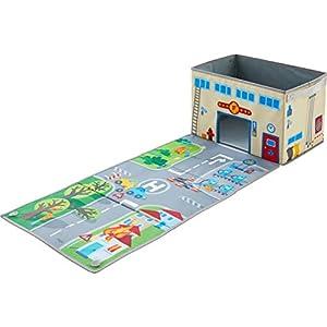HABA 304208 – Aufbewahrungsbox Feuerwehr, Spielzeugkiste mit Feuerwehrmotiv, Deckel zum Aufklappen als Spielstraße, Maße: 26 x B 39 x H 24 cm