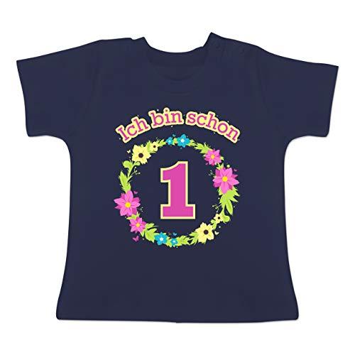 h Bin Schon 1 Blumenkranz - 6-12 Monate - Navy Blau - BZ02 - Baby T-Shirt Kurzarm ()