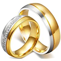 18K Gold Plated Titanium Steel Shining Diamond Wedding Love Couple Ring Set Female us7 Male us8 cr16