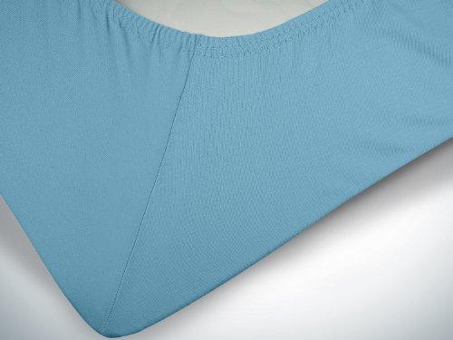 npluseins klassisches Jersey Spannbetttuch - erhältlich in 34 modernen Farben und 6 verschiedenen Größen - 100% Baumwolle, 90-100 x 200 cm, hellblau - 6