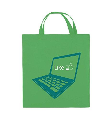 Comedy Bags - I like laptop - Jutebeutel - kurze Henkel - 38x42cm - Farbe: Schwarz / Weiss-Neongrün Grün / Türkis-Weiss