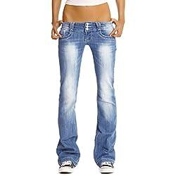 BestyledBerlin Jean pour Femmes, Jean à Taille Basse/Bootcut j97y M