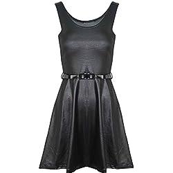 Janisramone mujer manga larga de efecto mojado PVC vestido de cuero señoras vestido corto túnica falda Skater Dress Sleeveless XXL (48-50)