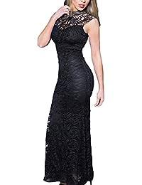 ABILIO Abito Lungo Donna Elegante Vestito Sirena da Sera Senza Maniche  Pizzo Cerimonia 91fe4b51e10