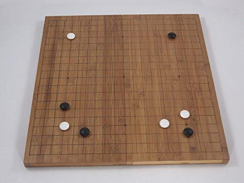 Go-Spiel: Bambus-Klappbrett, 19x19, 20mm, dunkel mit gefrästen Linien