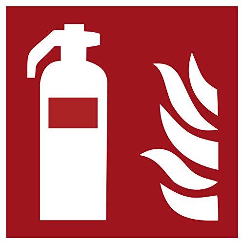 F001 Brandschutzaufkleber Feuerlöscher | Nachleuchtend nach DIN 67510 in grün | Selbstklebend Folie für Betriebe, Produktion & Kliniken | 150 x 150 mm | PlottFactory
