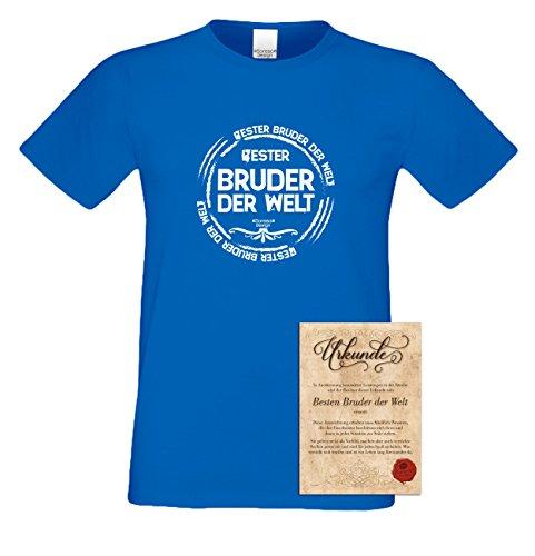 Geburtstagsgeschenk Bruder :-: Herren-Motiv T-Shirt mit Urkunde besten Bruder :-: Weihnachtsgeschenk :-: Bester Bruder der Welt :-: Geschenkidee für Männer auch Übergrößen 3XL 4XL 5XL blau-12