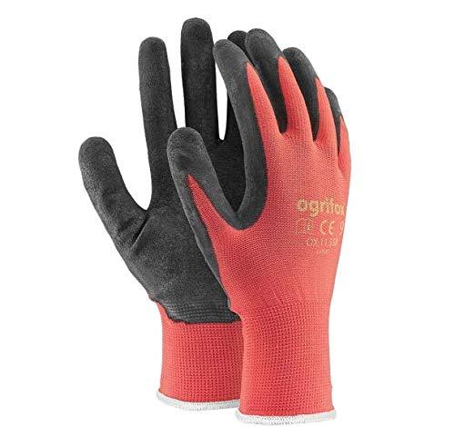 Arbeitshandschuhe, Latex-beschichtet, 24Paar, XL - 10, schwarz / rot, 60