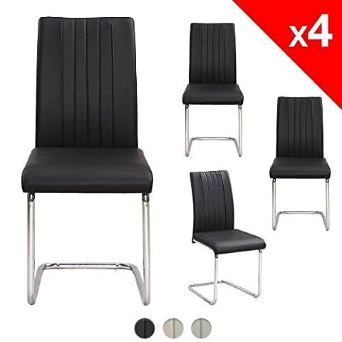 KAYELLES Chaises de salle a manger Lot de 4 ORYX Chaise Design Salon, Cuisine Simili cuir, Piètement chromé (Noir)
