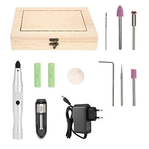 Taladro de uñas eléctrico, amoladora eléctrica portátil Mini herramienta de taladro Grabado Pluma Rectificado Fresado Herramientas de pulido para mujeres Uso en el hogar y el salón(Enchufe de la UE)