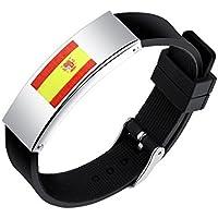 SHEDEU Coupe du monde de football les fans de drapeaux mains Bracelets Coupe du monde de football Drapeau national Bracelet en silicone pour homme en alliage Bracelet Espagne