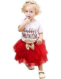 Logobeing 2 Piezas Recién Nacidos Bebé Niña Carta Mameluco Tops + Falda Día de San Valentín Ropa Trajes Conjunto 0-18 Mes
