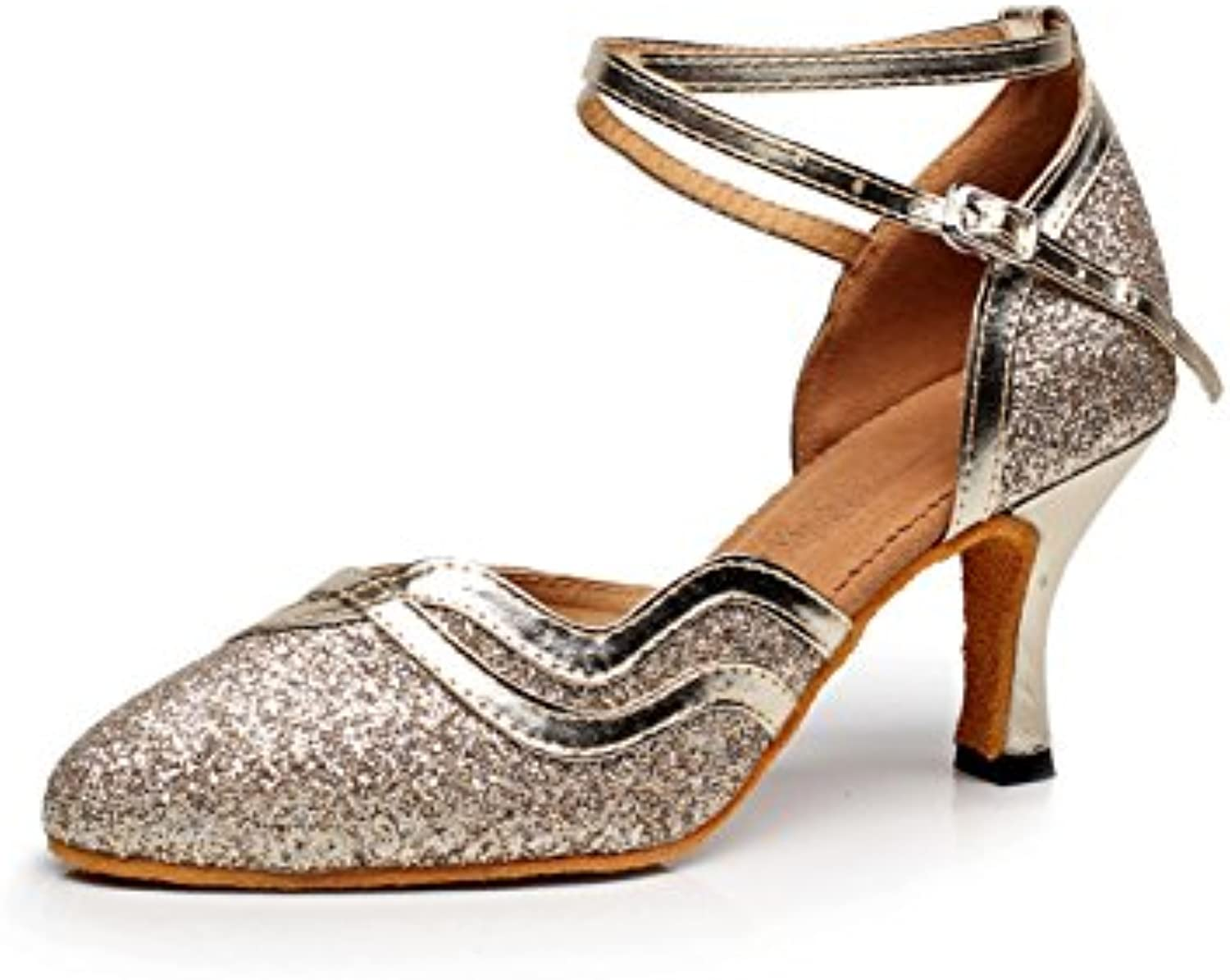 b77665a1dbe5 JSHOE Womens Closed Toe High Heel Heel Heel PU Leather Glitter Salsa Tango  Ballroom Latin Dance Shoes