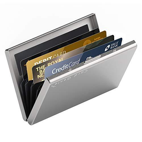 Porte-Cartes Métallique pour Dames et Hommes avec la Technologie de Blocage IRF Acier Inoxydable Résistant à l'eau 6 Fentes Protecteur de Carte de Crédit Le Plus Fiable par de Card Genie - Argent