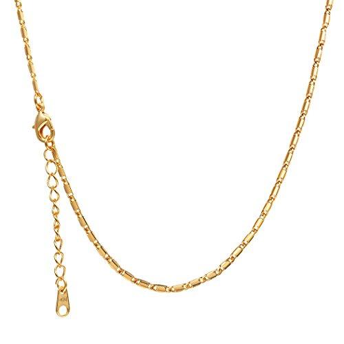 Suplight Damen Halskette 3mm breit 18k vergoldet Gliederkette Link Chain Ersatz Kette für die meisten Anhänger 55cm lang, gold