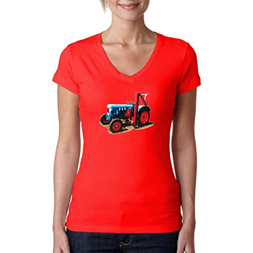 Im-Shirt Traktoren Girlie V-Neck Oldtimer-Traktor: Eicher Oldtimer mit Mähwerk by Rot XL