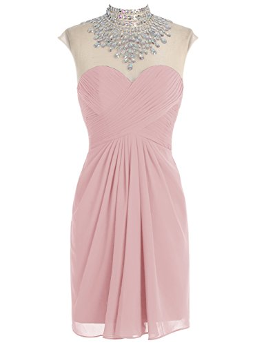 Bbonlinedress Modern Kurz Cocktail-kleider Chiffon Homecomingkleider Blush